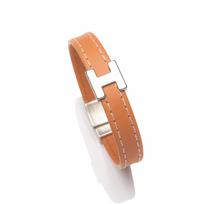 Bracelet cuir sellier orange H